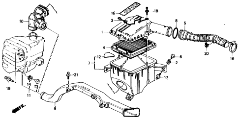 1991 civic DX 4 DOOR 5MT AIR CLEANER diagram