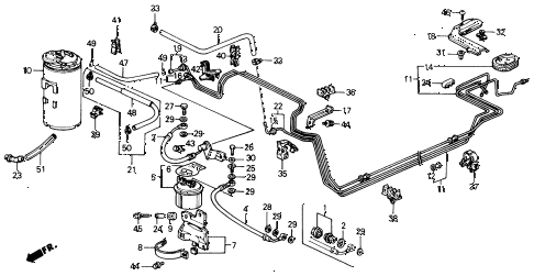 1991 civic LX 4 DOOR 5MT FUEL PIPE diagram