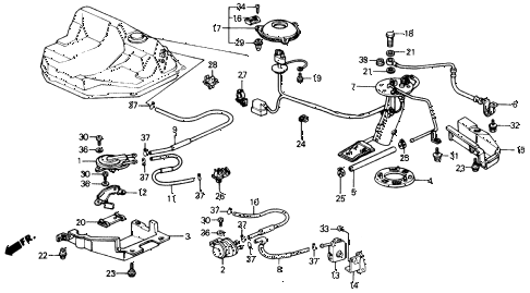 1988 civic DX 4 DOOR 5MT FUEL PUMP - TWO-WAY VALVE diagram