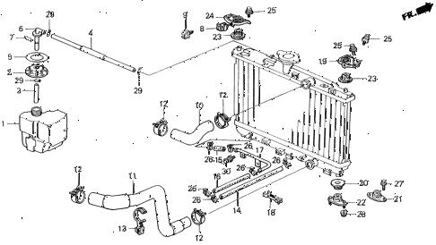 1991 civic DX 4 DOOR 5MT RADIATOR HOSE diagram