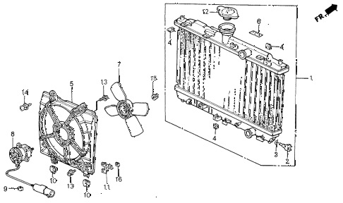 1991 civic EX 4 DOOR 5MT RADIATOR (DENSO) diagram