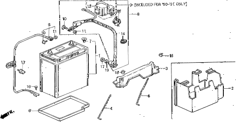 1990 civic LX 4 DOOR 4AT BATTERY - BATTERY CABLE diagram
