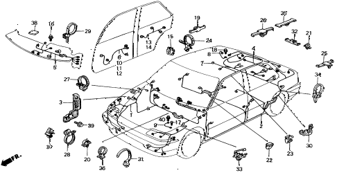 1991 civic DX 4 DOOR 5MT WIRE HARNESS diagram