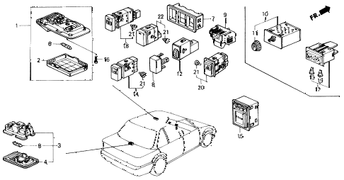 1991 civic EX 4 DOOR 5MT INTERIOR LIGHT - SWITCH diagram