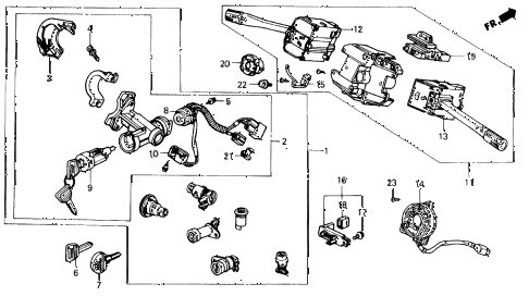 1991 civic EX 4 DOOR 5MT COMBINATION SWITCH diagram