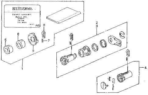 1989 civic DX 4 DOOR 5MT KEY CYLINDER KIT diagram