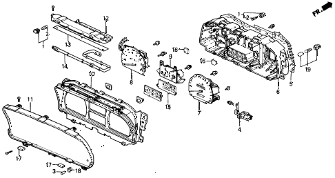 1989 civic LX 4 DOOR 4AT METER COMPONENTS (DENSO) diagram