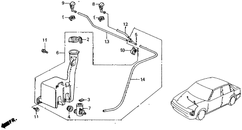 1988 civic DX 4 DOOR 4AT WINDSHIELD WASHER diagram