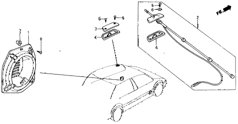 1988 civic DX 4 DOOR 5MT SPEAKER SEAL BRACKET diagram