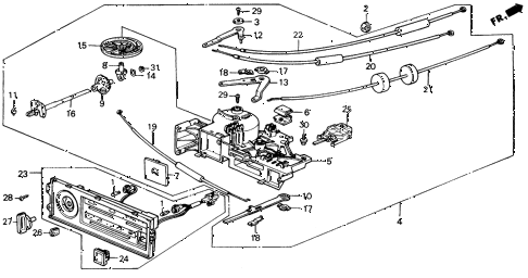 1988 civic DX 4 DOOR 4AT HEATER CONTROL diagram