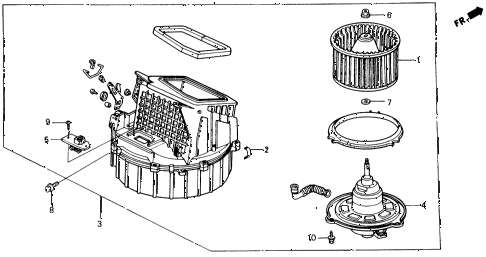 1989 civic DX 4 DOOR 5MT HEATER BLOWER diagram