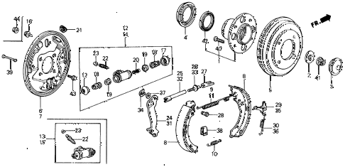 1990 civic LX 4 DOOR 4AT REAR BRAKE diagram