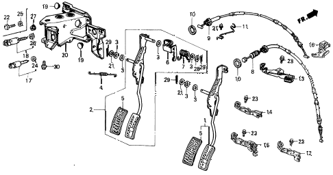1989 civic LX 4 DOOR 4AT ACCELERATOR PEDAL (1) diagram