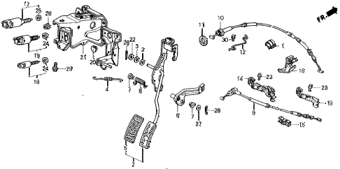1990 civic LX 4 DOOR 4AT ACCELERATOR PEDAL (2) diagram