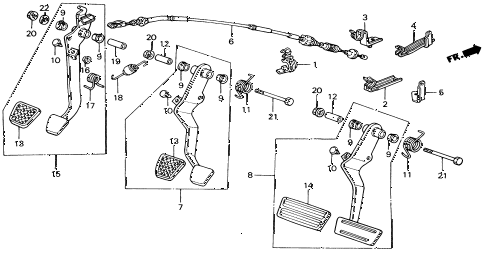 1991 civic EX 4 DOOR 5MT BRAKE @ CLUTCH PEDAL diagram