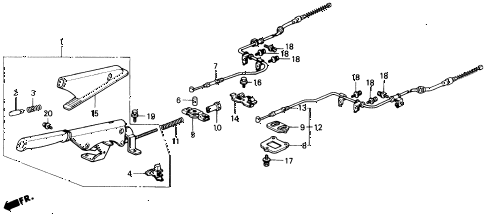 1991 civic DX 4 DOOR 5MT PARKING BRAKE diagram