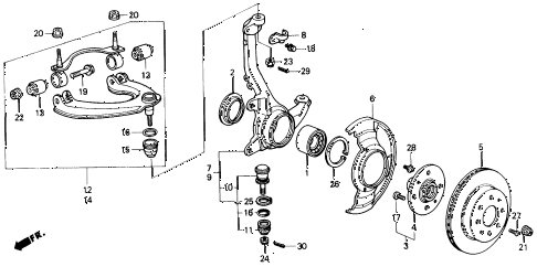 1989 civic DX 4 DOOR 5MT STEERING KNUCKLE - BRAKE DISK diagram