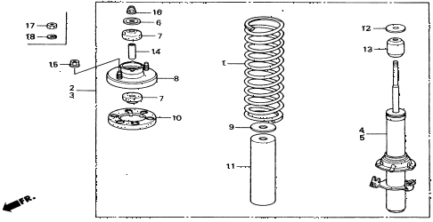 1991 civic LX 4 DOOR 5MT FRONT SHOCK ABSORBER diagram