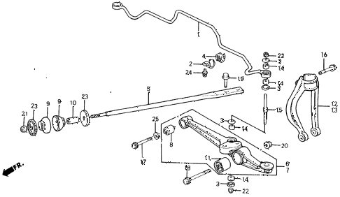 1991 civic DX 4 DOOR 5MT FRONT LOWER ARM diagram