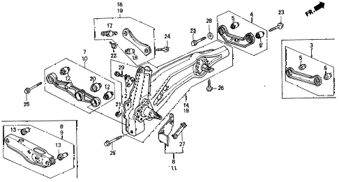 1991 civic DX 4 DOOR 5MT REAR LOWER ARM diagram