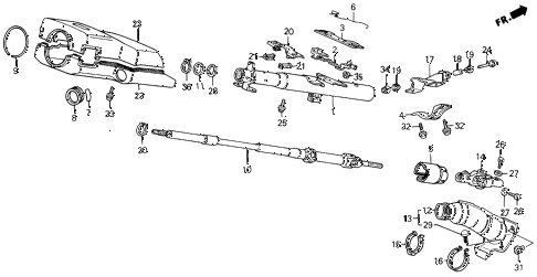 1988 civic DX 4 DOOR 5MT STEERING COLUMN diagram