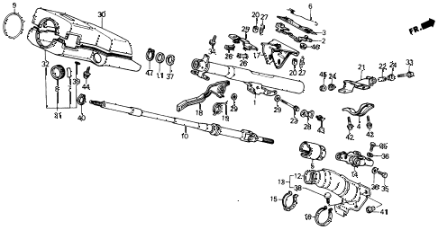 1991 civic DX 4 DOOR 5MT STEERING COLUMN (TILT) diagram