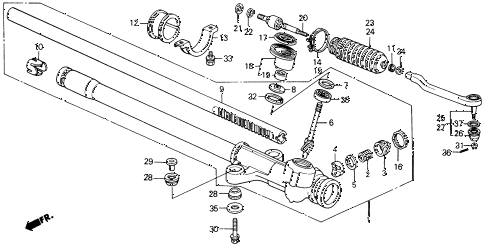 1991 civic DX 4 DOOR 5MT STEERING GEAR BOX diagram