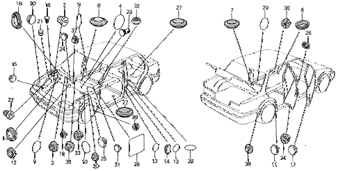 1991 civic DX 4 DOOR 5MT GROMMET - PLUG diagram