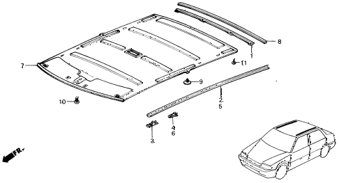 1991 civic DX 4 DOOR 5MT HEADLINER TRIM diagram