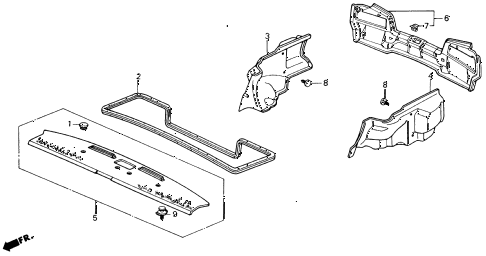 1991 civic LX 4 DOOR 5MT REAR TRAY diagram