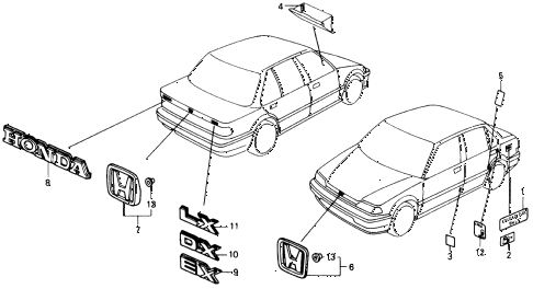 1988 civic DX 4 DOOR 5MT EMBLEMS diagram