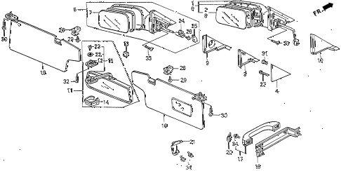 1990 civic DX 4 DOOR 4AT INTERIOR ACCESSORIES diagram
