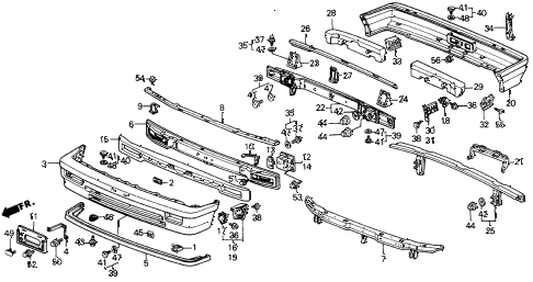 1988 civic DX 4 DOOR 5MT BUMPER diagram