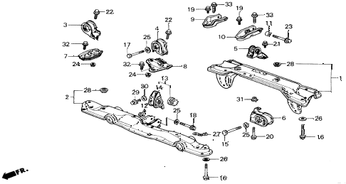 1990 civic LX 4 DOOR 4AT ENGINE MOUNT diagram