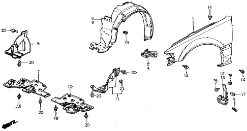 1991 civic EX 4 DOOR 5MT FRONT FENDER diagram