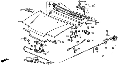 1989 civic LX 4 DOOR 4AT HOOD diagram