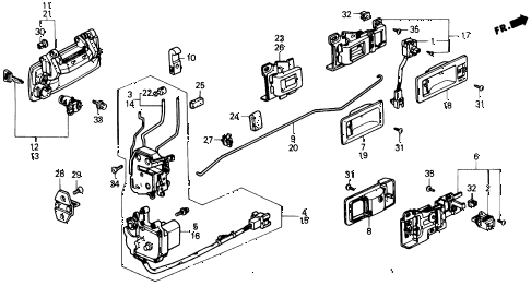 1988 civic DX 4 DOOR 4AT FRONT DOOR LOCKS diagram