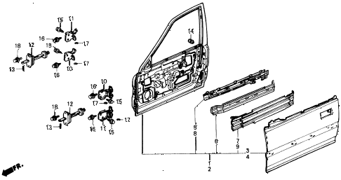 1991 civic DX 4 DOOR 5MT FRONT DOOR PANELS diagram