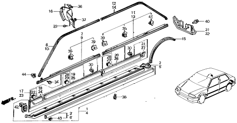 1989 civic DX 4 DOOR 5MT SIDE PROTECTOR diagram