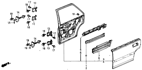 1991 civic LX 4 DOOR 5MT REAR DOOR PANELS diagram