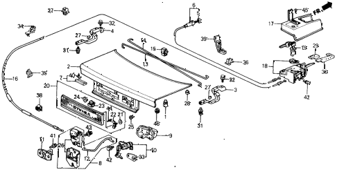 1991 civic EX 4 DOOR 5MT TRUNK LID diagram