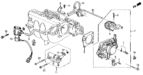 1991 civic EX 4 DOOR 5MT THROTTLE BODY (2) diagram