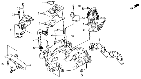 1989 civic DX 4 DOOR 5MT INTAKE MANIFOLD (1) diagram