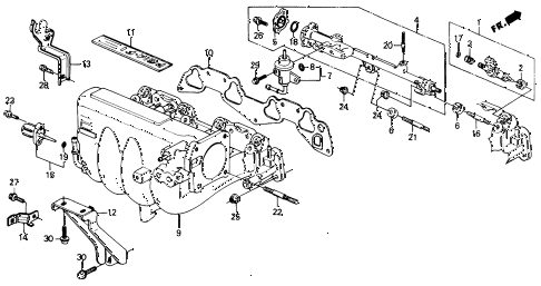 1991 civic EX 4 DOOR 5MT INTAKE MANIFOLD (2) diagram