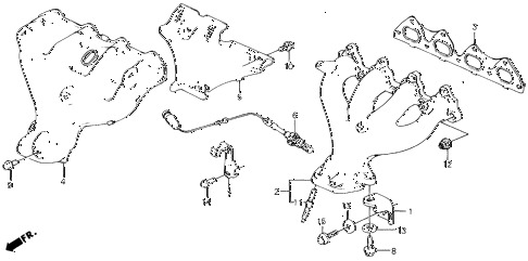 1989 civic LX 4 DOOR 4AT EXHAUST MANIFOLD diagram