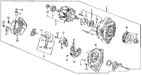 1988 civic DX 4 DOOR 5MT ALTERNATOR (DENSO) diagram