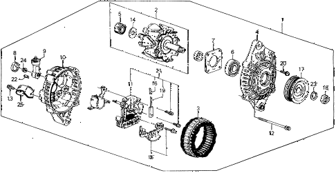 1990 civic DX 4 DOOR 4AT ALTERNATOR (MITSUBISHI) diagram