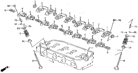 1989 civic LX 4 DOOR 4AT VALVE - ROCKER ARM diagram