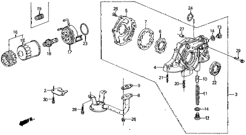1990 civic DX 4 DOOR 4AT OIL PUMP - OIL STRAINER diagram