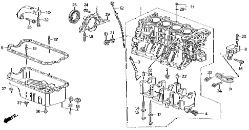 1991 civic EX 4 DOOR 5MT CYLINDER BLOCK - OIL PAN diagram